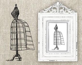 Vintage Dress Form - Digital Download Clipart - Dress Form Illustration - Antique Dress Form Mannequin Art Transfer Craft - INSTANT DOWNLOAD