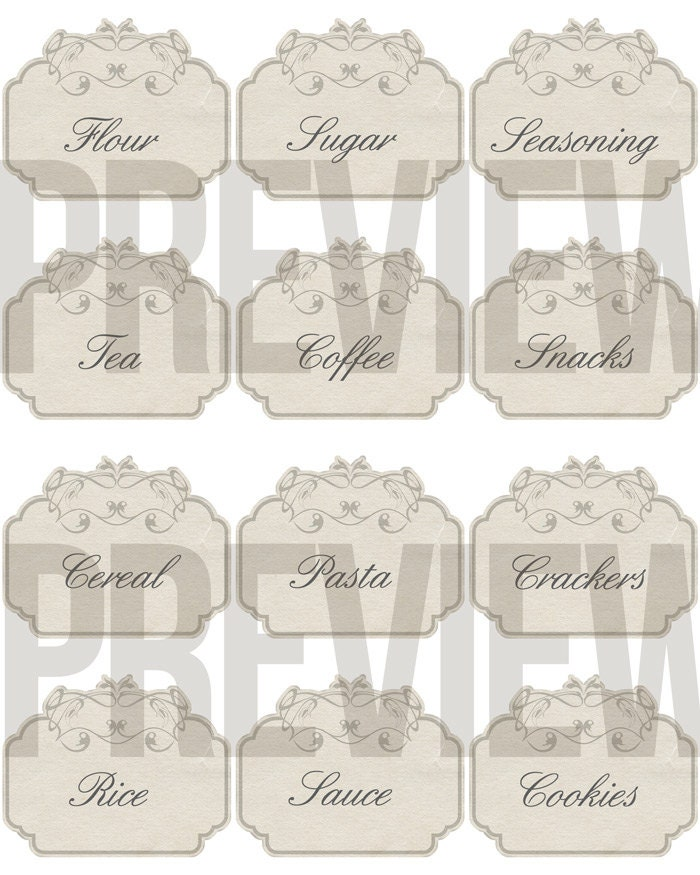 Kitchen Set Instan: 40% OFF SALE Digital Kitchen Labels Antique Vintage Style