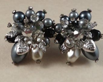 Vendome Signed Pearl and Rhinestone Earrings, Vintage