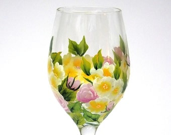 Hand Painted Wine Glass Garden Flowers Pink Roses Yellow Green Leaves Wedding Wine Glasses Hand Painted Glassware Hand Painted Wine Glasses