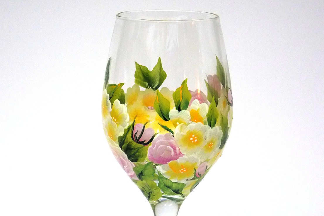 Hand painted wine glass garden flowers pink roses yellow green for Hand painted glassware