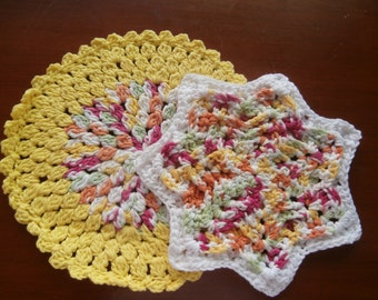 Dish/Wash Cloths - Set of 2 - Rainbow! 100% Cotton - Hand Crocheted - Kitchen - Bathroom - Cleaning - House Warming - Kitchen Gear