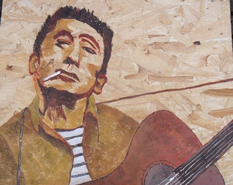"""Original Acrylic Painting on Board - Woody Guthrie       19.5"""" x 17"""" the man who inspired Bob Dylan"""