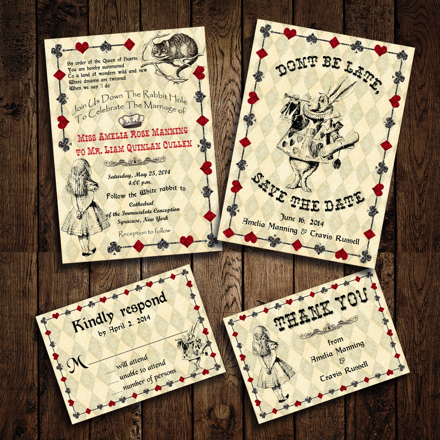 Printable Alice In Wonderland Wedding Invitation Set RSVP