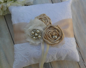 Ring Bearer Pillow, Champagne Ring Bearer Pillow, Champagne Ring Pillow, Shabby Chic Ring Bearer Pillow, Ring Pillow, YOUR CHOICE COLOR