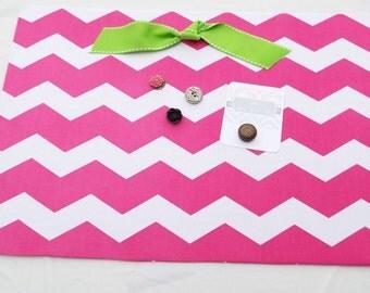 "Fabric Covered Magnet Board (18"" x 12"") Hot Pink Chevron, Memo board, Teens & Tweens, Girls Room, Photo Display, Magnetic Bulletin Board"