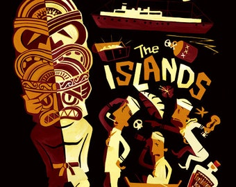 the island, Tiki Poster,Hawaiian, Mid Century Modern Art Print Poster Vintage Retro Style.A3size