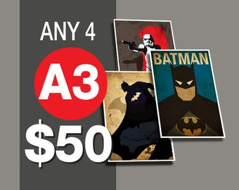 4 Posters for 50 Dollars - A3 Size