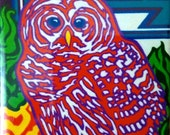 """bright, fun, colorful, whimsical, spiritual magnet of an original acrylic painting: """"Prentiss' Owl"""""""