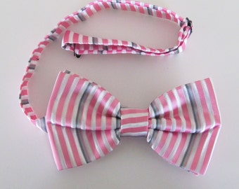 Mens Bow Tie White With Pink And Silver Fine Stripes Banded Pre Tied Bow Tie