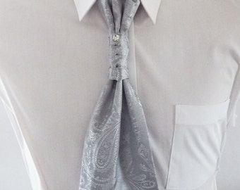 Mens Ascot Tie Silver Gray Satin Paisley Adjustable Neck Mens Formal Ascot