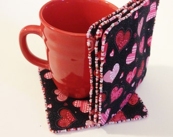 Heart Fabric Coasters, Set of 4, Pink/Red/Heart Reversible Coasters, Oversized Coasters, Mug Rug, Mother's Day Gift,  LasmasCreations.