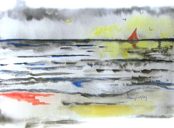 Shiny Sea - Watercolor Painting PRINT - by Mary Cogley - 2014