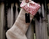 Red Floral Damask Shabby Chic Burlap Christmas Stocking - BlueBirdsLane