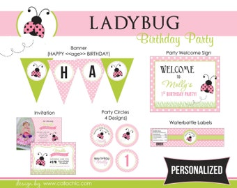 Ladybug Birthday Party Package (Girl) - Pink Polka Dot - DIY Printable - 1st Birthday