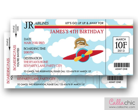 plane ticket template for gift