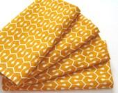 Large Cloth Napkins - Set of 4 - Orange Geometric