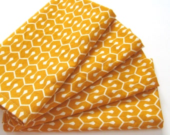 Large Cloth Napkins - Set of 4 - Orange Geometric