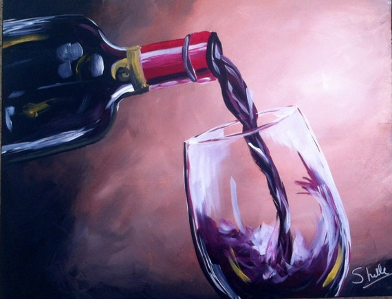 Items similar to wine bottle and glass painting on etsy for Acrylic paint on wine glasses