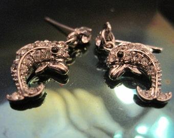 Silver Dolphin Earrings - Rhinestone Silver Dolphin Earrings - Dangle Earrings - Nautical Jewelry