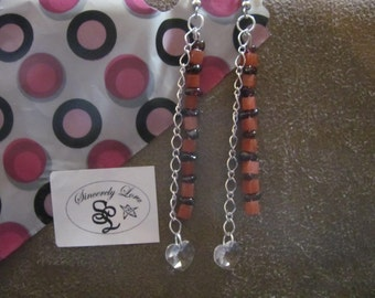 Peach and Purple Dangle Earrings w/Crystal Heart