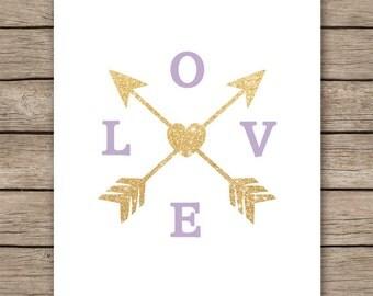 Lavender wall art,  gold glitter love arrow print, lavender nursery decor, INSTANT DOWNLOAD