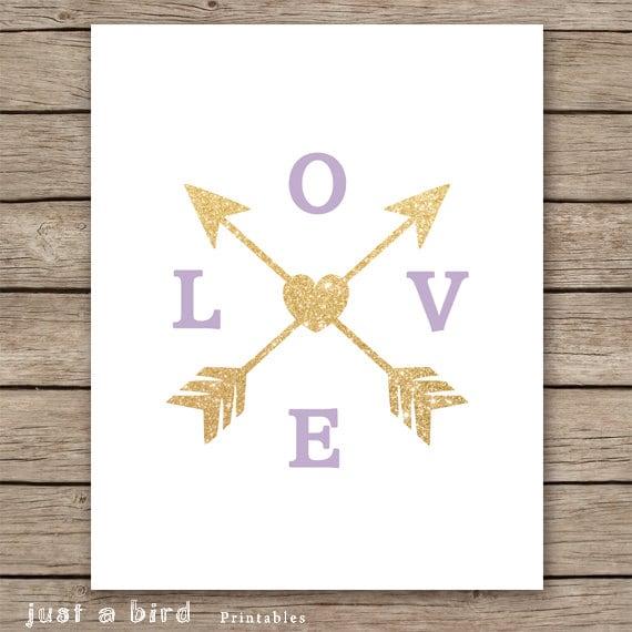 Etsy Gold Wall Decor : Lavender wall art gold glitter love arrow print