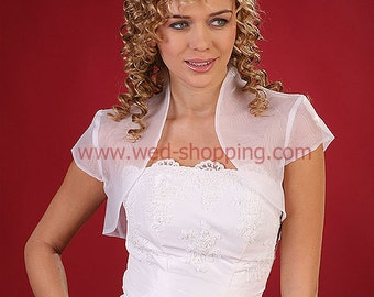 Short sleeved organza bridal bolero jacket for wedding and E1177d Bridesmaid Bolero Transparent