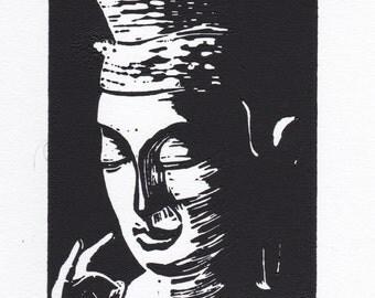 Nara Buddha:  Hand Pulled  Linoleum Block Print