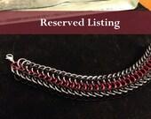 Reserved Listing for Jen: Red, Black, and Gunmetal Alligator Back Bracelet