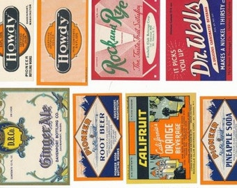 8 Different Soda Labels - Vintage, Unused - Excellent Condition FREE SHIPPING (U.S.)