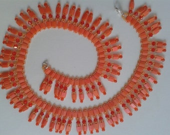Beaded Necklace Lght Siam Orange