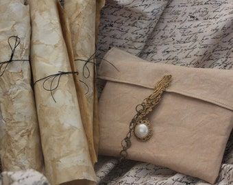 Antique Coffee-Dyed Paper Journal & Letter Writing Set