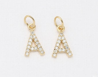 A - Alphabet, Initial, Letter Cubic Pendant Polished Gold -Plated - 1 Pieces [P0238-PG]