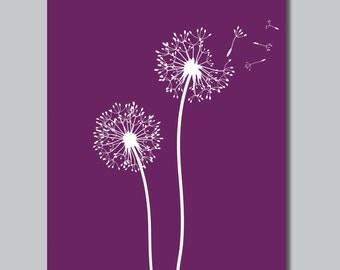 Purple & White Dandelions in the Wind Print - Home. Bath. Decor. Nursery - You Pick the Size (S-139)