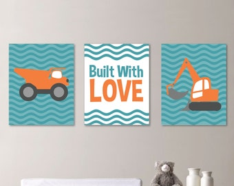 Baby Boy Nursery Art Print - Construction Nursery Art -  Construction Decor - Boy Bedroom Art - Boy Bedroom Construction Art. Canvas. NS-346