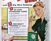 1950s Vintage SOAP Ad DREFT Dishwashing Detergent Print Advertisement Soap Ad Retro Homemaker Laundry Soap Household Wash Wall Decor