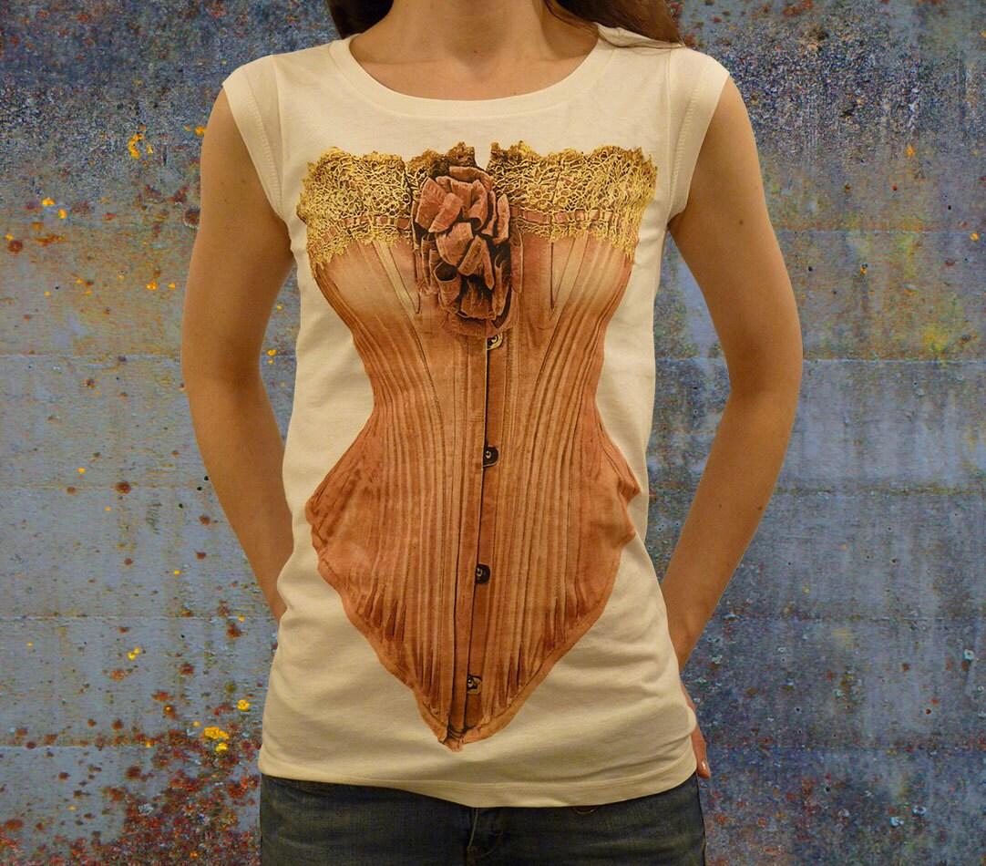 organic t-shirt with corset lingerie print
