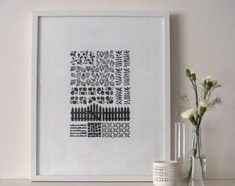 Garden with Fence 2014 - Linoprint, Original Artwork.