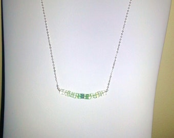 Graduated Color Flourite Minimalist Bar NECKLACE on Sterling Silver Chain