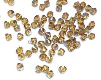 Light Colorado Topaz AB (246 AB) Swarovski 5328 / 5301 3mm Crystal Bicone Beads ** FREE Shipping