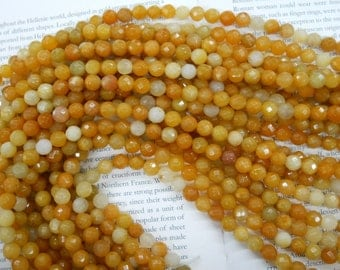 8mm yellow jade faceted beads, 15 inch