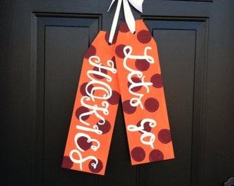 Front Door Decoration - Door Hanger - Virginia Tech Door Tags