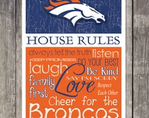 Denver Broncos House Rules (4 Sizes) Art Print***