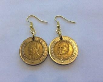 Turkey 1 Yeni Lira Two-Toned, Bi-Metal Coin Earrings