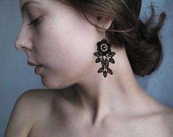 Lace Earrings Bohemian Jewelry Black Elegant Earrings Vintage Lace Earrings Romantic Jewelry