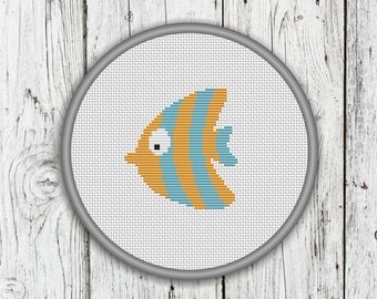 Cute Yellow Fish Counted Cross Stitch Pattern - PDF, Instant Download