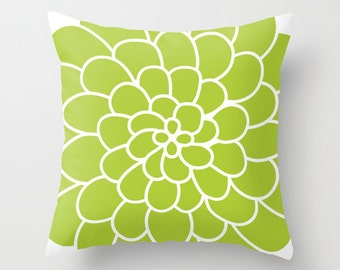 Modern Spring Succulent Flower Throw Pillow Cover - Green - Abstract Flower Decorative Pillow - Home Decor - By Aldari Home