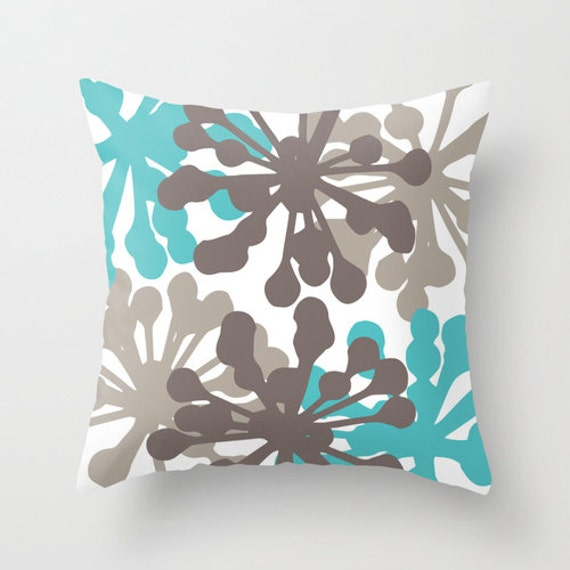 modern flower buds throw pillow teal brown abstract. Black Bedroom Furniture Sets. Home Design Ideas