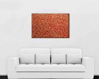 """CLEARANCE! 75% OFF Red Medley - Original Abstract Painting on Canvas, Acrylic, 24""""x36"""" red painting, red, orange, yellow art, red wall decor"""